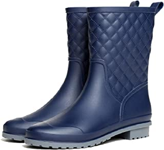 16093fe36953d0 Mini Balabala Bottes Pluie Femme Caoutchouc Bottines Antidérapant  Wellington Boots Jardin Noir Bleu