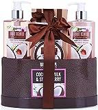 BRUBAKER Cosmetics set beauty da bagno e doccia 'Latte di cocco e fragola' - Confezione regalo in 5 pezzi presentati in un cestino
