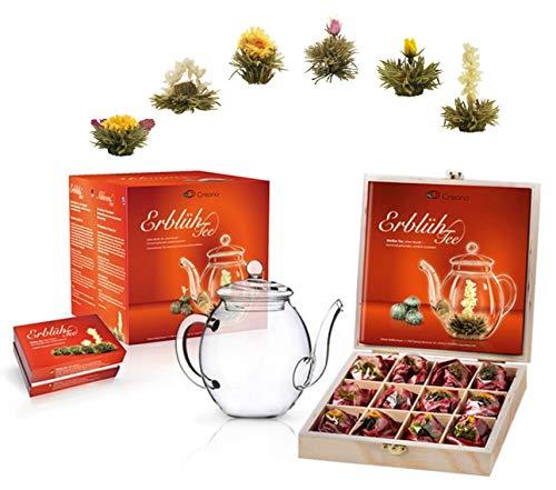 Creano Teeblumen Mix - Geschenkset ErblühTee mit Glaskanne & 6 Teeblumen + 12 Teerosen in Teekiste aus Holz in 6 Sorten - Weißtee