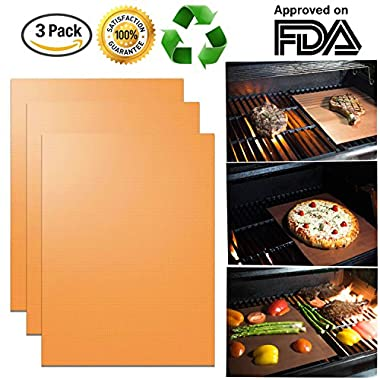 Copper Grill Mats (3 Pack) - New Durable Quality - Non-Stick Grill Mats - FDA Approved, PFOA Free, Grill Gift Accessory - For Gas, Charcoal, or Electric Grills - 16  x 13