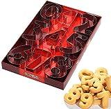 Baker Boutique Set di 9 formine per Biscotti a Forma di Numero, in Acciaio Inox, per Decorare Torte e Dolci, 8 cm