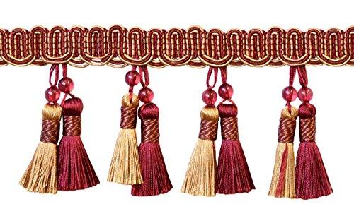 Elegant 4 inch Long Wine (deep red), Gold Beaded Tassel Fringe / Style#...