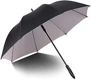 Household Umbrellas Large Three-Person Folding Umbrellas Rain and Rain Dual-use Automatic Umbrellas Reinforced Windproof Long Handle Umbrellas Four Colors Huhero (Color : Gray)