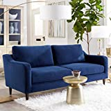 Sofab Hudson Series 3-Seat Sofa, Royal Style Design Living Room Couch with Sturdy Wood Frame Construction - 78' W, Indigo Blue