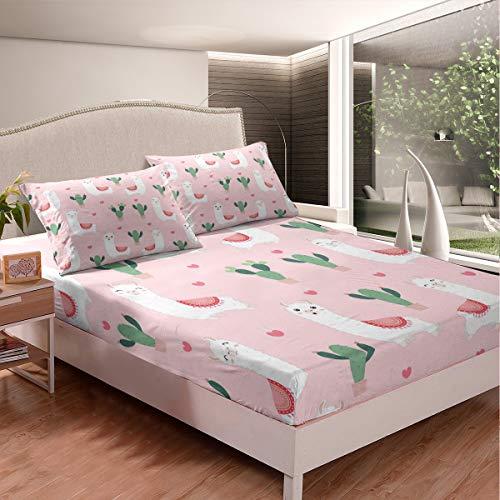 Loussiesd Llama - Juego de sábanas de alpaca para niños, niños, adolescentes, decoración de dormitorio rosa, cubierta de cama de animales sudamericanos