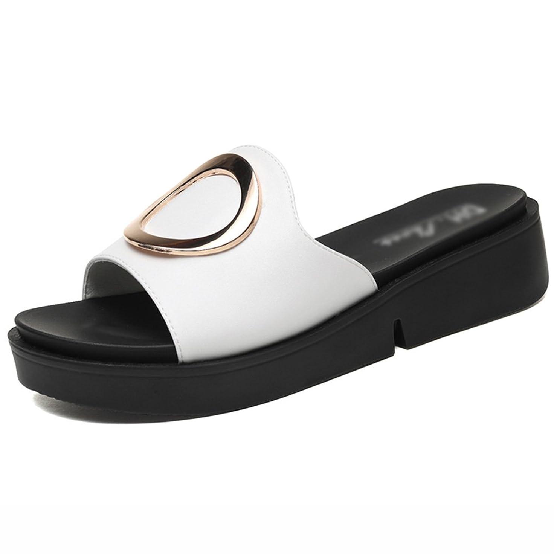 HWF レディースシューズ スリッパ女性の夏のカジュアルな厚いボトムのサンダル女性の靴 ( 色 : 白 , サイズ さいず : 40 )