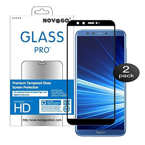 NOVAGO Compatible avec Huawei Honor 9 Lite- Pack de 2 Films Protection écran en Verre trempé résistant Couvre la totalité de l'écran (x2, Noir)