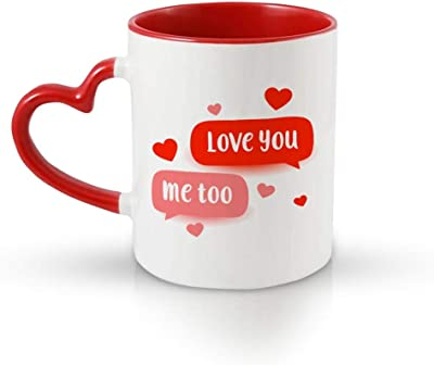 iKraft Printed Design Heart Handle Mugs - Love You, Coffee Mugs for Tea and Coffee, Awesome Gift for Your Loved Ones – 325 ml