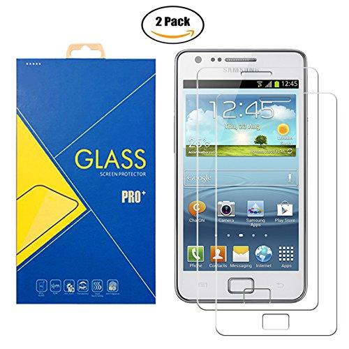 Glass Com [2 Pack] Pellicola Vetro Temperato Compatibile Samsung Galaxy S2 GT-i9100 / 9100 / Sii /S II - Schermo Antiurto AntiGraffio