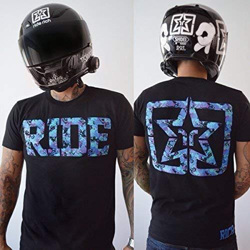 Ride riche Ride Bleu manches t de moto pour homme-Petit