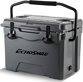 EchoSmile Grey Cooler, 25 Quart Rotomolded Cooler, Heavy Duty Ice Chest (Built-in Bottle Openers, Fishing Rule, Cup Holders and Lockable Corners) for Camping, Fishing