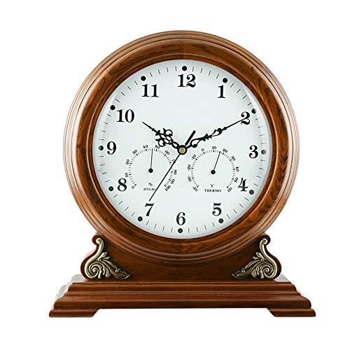 Hölzerne Kaminuhren, Tischuhr Analog Klassisches Thermometer und Hygrometer Stehpult & Regal Uhren Ornament Antik Finish Quarz Uhr (32 * 34,5 cm),a