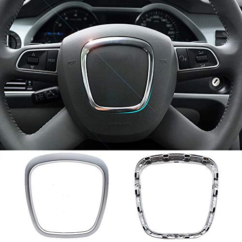 Chrome Matte Steering Wheel Trim Cover Frame Replacement For AUDI A4 B6 B7 B8 A5 A6 C6 Q5 Q7 Emblem Repair Kit Car Interior Styling Accessories