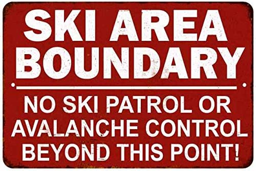 Ski Boundary Area Sign Vintage Skiing Warning Signs Decor Wall Art Skis Lodge Decorations Mountain product image