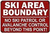 Ski Boundary Area Sign Vintage Skiing Warning...