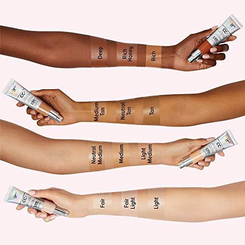 IT Cosmetics Your Skin But Better CC+ Cream, Medium (W) - Color Correcting Cream, Full-Coverage Foundation, Anti-Aging Serum & SPF 50+ Sunscreen - Natural Finish - 1.08 fl oz