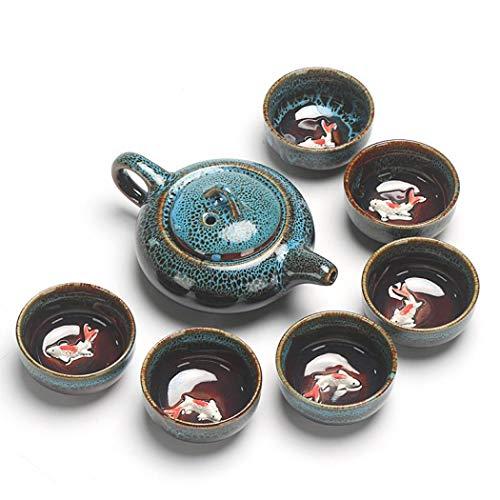 XUDREZ - Set da tè in porcellana, con incisione a mano, in ceramica Celadon, da viaggio cinese e kungfu, set da tè (azzurro)