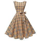 Hanpceirs Women's Boatneck Sleeveless Swing Vintage 1950s Cocktail Dress Khakiplaid L New