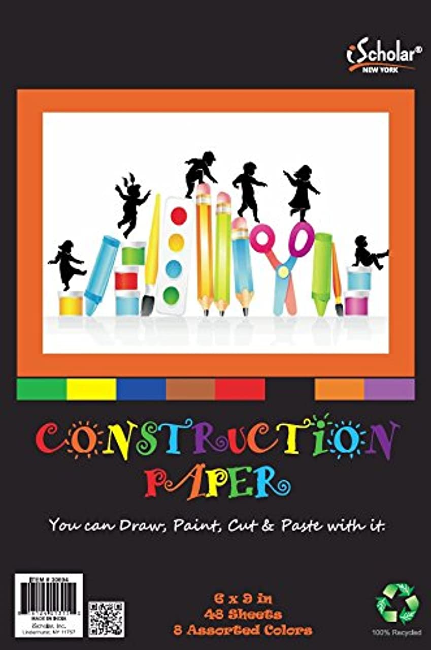 iScholar Construction Paper Tablet, Junior Size, 6x9 Inches, Assorted Colors, 48 Sheets per Tablet (30694)