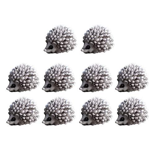 YeahiBaby 10 piezas Micro paisaje Mini Igel Simulación Animales de dibujos animados Estatua Resina Artesanía Escritorio pequeños Ornamente Wohnkultur (blanco y negro)