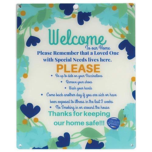 Rolling Buddies Special Needs Loved One Plastic Door Sign - Flower Design