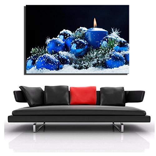 Jwqing Moderne kaars in de sneeuw wandafbeeldingen en posters - blauwe kleurplaat landschap canvas foto's voor wooncultuur 60x90cm niet ingelijst