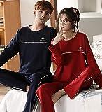 2020 Autumn Cotton Couple Pajamas, Korean Casual Men and Women Long-Sleeved Cotton Home Wear Winter
