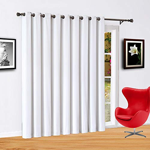 Infinite Home Beauty Vorhang für Terrassentür, extra groß, 279,4 x 213,4 cm, Elfenbeinfarben, 100 {fa88d88d2b0d19e293dee20dd68d7b3ab2965a36a694beea79f4053b9b9d3d97} verdunkelnd, wärmeisoliert, für große Fenster, Schiebetüren oder als Raumteiler verwendbar