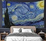 Van Gogh The Starry Night Tapisserie, 152,4 x 203,2 cm, Ölgemälde, Wandbehang, Partydekoration, Bettwäsche, Wanddecke, Kunst, Heimdekoration für Schlafzimmer, Wohnzimmer, Wohnheim (150 x 200 cm)