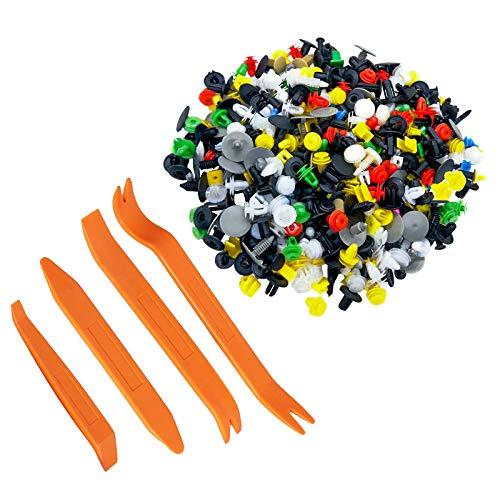 500 Pcs Clip Remaches Negro Universales de Plastico Nylon+ 4 Piezas Nuevo Tablero del Clip de la Puerta del Coche Tablero de Instrumentos de Audio Desmontaje Kits (Mezcla aleatoria de remaches)