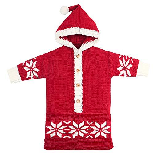 Eternali Neugeborenes Baby Weihnachten Schneeflocke Fleecedecke Swaddle Decke Wrap Schlafsäcke Newborn Baby Dicke Warme Wolle Knit Decke Kapuze Stroller Wrapfür 0-15 Monate Einschlagdecke