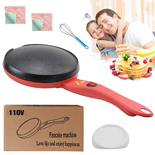 Electric Crepe Maker Pan,Portable Crepe Maker Electric Griddle Non-stick Crepe Pan, Automatic Temperature Control for Crepes,Pancakes, Bacon, Tortilla,Include Batter Pot & Egg Beater1 pack