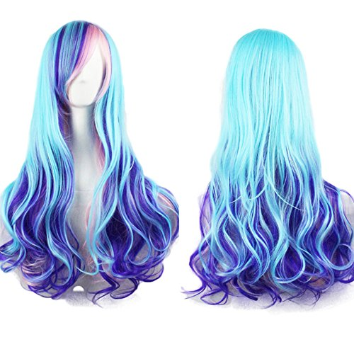 netgo Women Long Curly Gradient Blue & Purple Party Cosplay Costume Wig with Side Bang