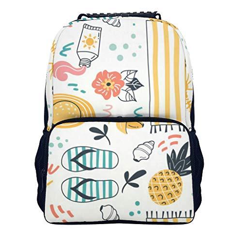 Sommer Element Rucksack - Frischer Stil Mode Reisen Rucksack mit Papiertasche - Herbst Winter 2019 Rucksack für Girls Schule Schülerreisen White OneSize
