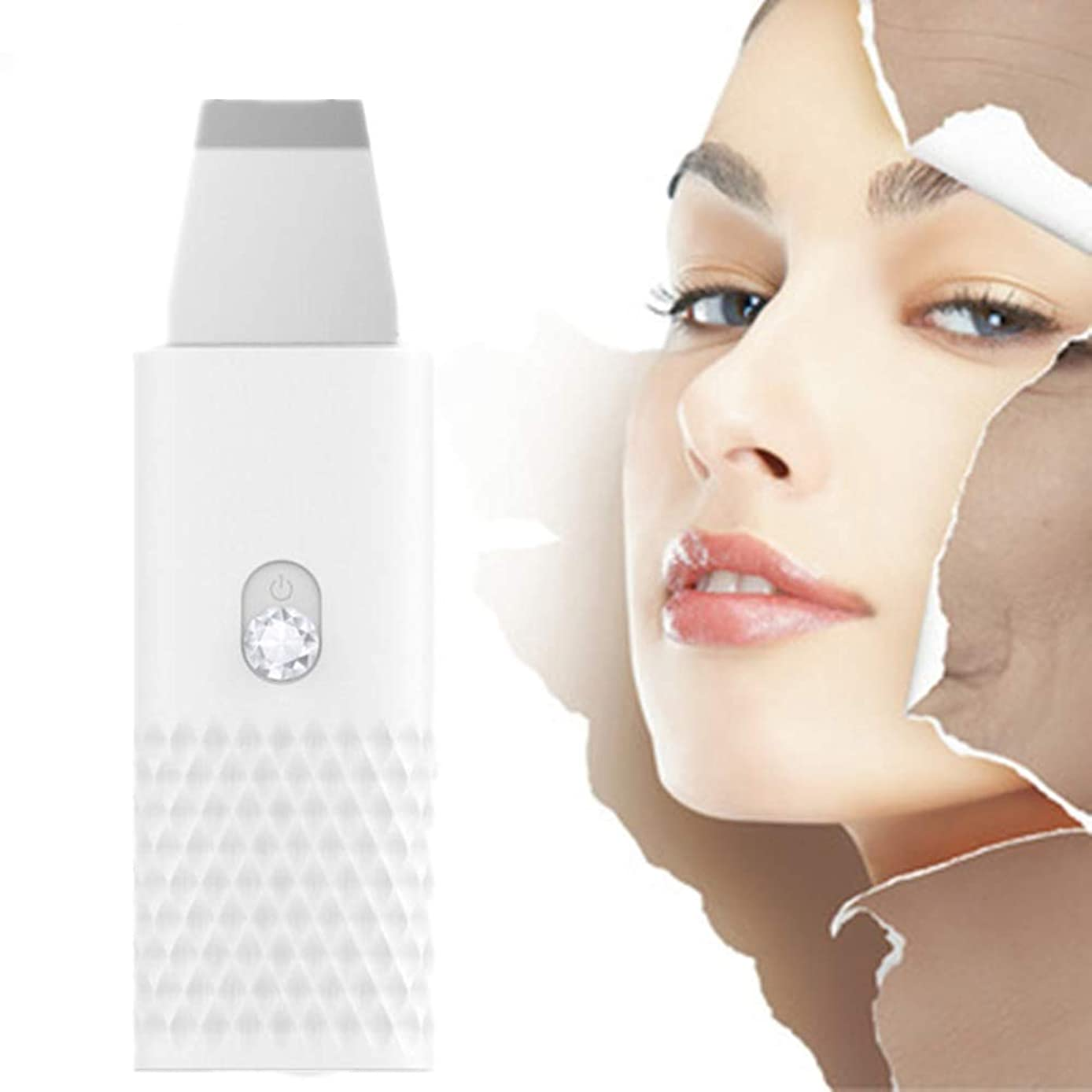 タヒチコンサート敵ツールクレンザー古い角質除去ホワイトピーリング顔の皮膚のスクラバーブラックヘッドリムーバー毛穴クリーナー電気EMS導入モードUSB充電女性のスキンマッサージスクラバー?フェイシャルリフティング