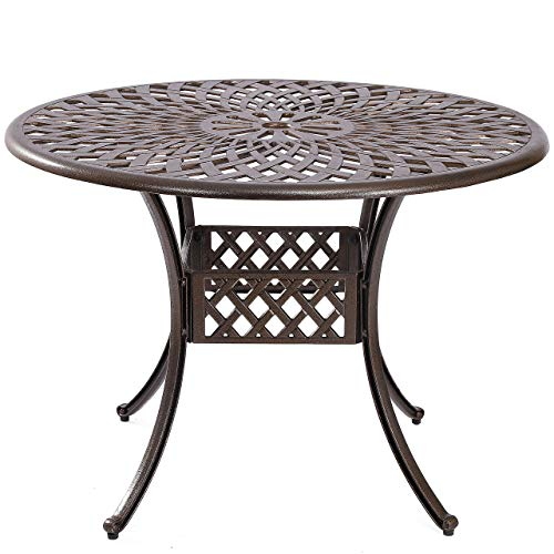 Kinger Home Outdoor Patio Dining Round Table, Cast Aluminum Rustic Large Patio Table with Umbrella Hole - Brown