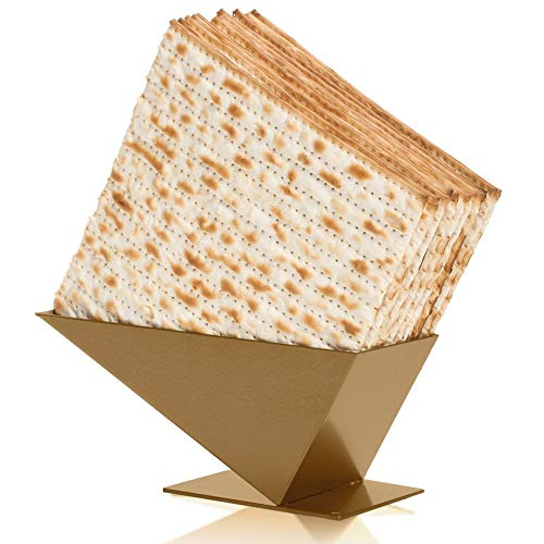 Matzah Crackers Holder - Passover Decorations Matzos Crackers Gold Tray for Kitchen Storage and Dinner Table Decoration - Pyramid Matzah Holder, Israeli Matzah Box, Passover Products Matzo Holder