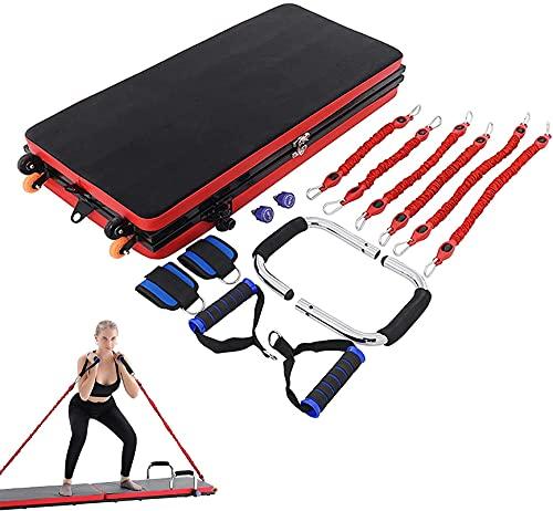 LSWY Sistema multifuncional de push hacia arriba con banda de resistencia, mango de ejercicio y bucle de pie, tablero muscular plegable de gimnasio para el hogar, para estiramiento, entrenamiento de f