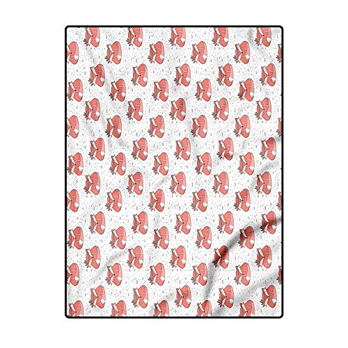 Fox Floor Carpet Yoga Mat Non-Slip Playing Floor Mat for Living Room Bedroom Abstract Dotted Background 5 x 7 Ft