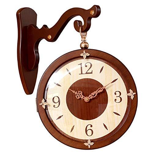 Bdesign Doble de la Vendimia Caras del Reloj de Pared Hierro Metal silencioso silencioso Reloj de Pared del Reloj del Doble del Arte Decorativo Ante Reloj de Pared Girar Reloj de Pared Antiguo