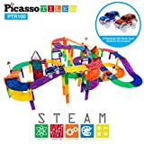 PicassoTiles 100 Piece Race Car Track Magnet Building Blocks Educational Toy Set Magnet Tiles Magnets Block Playset 2 LED Cars STEM Learning Construction Building Kit Child Brain Development Training