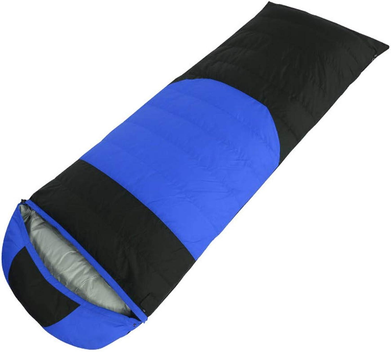 Duck Down Envelope Sleeping Bag, Ultra Light Portable Sports Walking Sleeping Outdoor 4 Season Camping Thick Warm with Cap Unisex Adult Waterproof Bag 3 Farbe