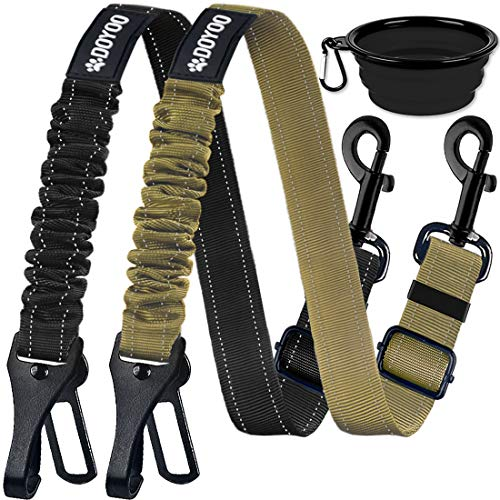 DOYOO Dog Seat Belt,New 2-in-1 Multi-Functional Dog Car Seatbelts 2 Pack Pet Car Seat Belts Adjustable Heavy Duty & Elastic Reflective Vehicle Dog Car Harness
