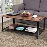 JAXPETY 2-Tier Industrual Wood Coffee Table with Metal Frame, Rectangular Cocktail Table Living Room Furniture w/Storage Mesh Shelf, Rustic Brown