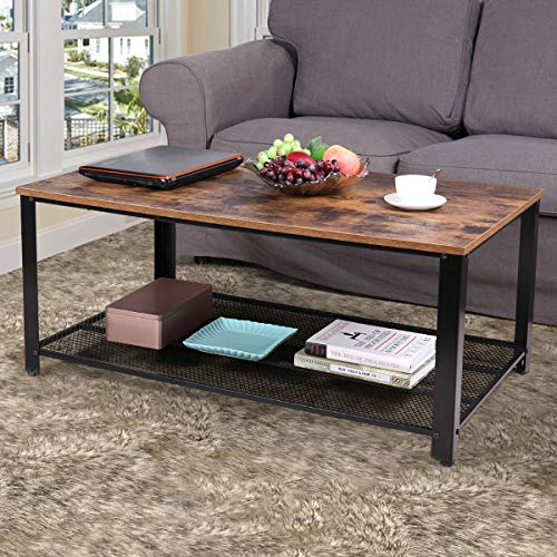 Jaxpety 2-Tier Industrial Wood Coffee Table