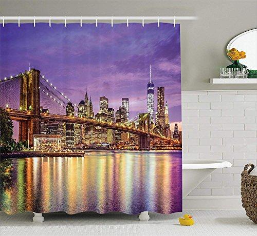 SHUHUI New York - Cortina de Ducha, diseño de Nueva York, Color Lila y Dorado