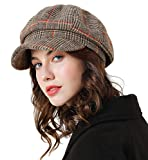 Superora Boinas Mujer Francesa Vintage Sombreros de Mujer Fiesta Invierno Clásico Gorro Caliente Beret Francés Beanie Cozy Enrejado