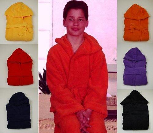 Kinder Microfaser Bademantel mit Kaputze Gr.: 128, 140, 152, 164, 176 in Gelb, Orange, Rot, Schwarz, Blau, Lill
