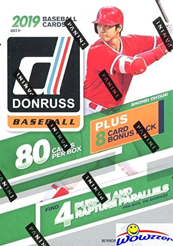 2019 Donruss Baseball HUGE EXCLUSIVE Factory Sealed Retail Box with 88 Cards including (8) SPECIAL Purple & Rapture PARALLELS! Loaded with (24) Inserts/Variations/Diamond Kings/Rated Rookies! WOWZZER