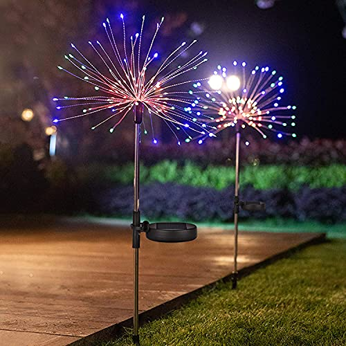 ZCLS Outdoor Lamp Solar Powered Flowers Fireworks Trees for Walkway Patio Lawn Backyard,Christmas Party Decor